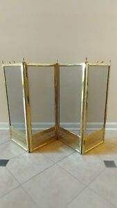 French Brass Fireplace Screen 4 Panels Antique 19th Century