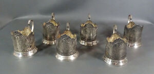 1967 Soviet Russian Propaganda 50 Years October Tea Cup Holder Set Silver Plated
