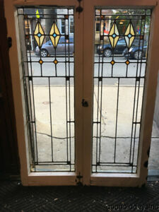 Pair Of Antique 1920 S Stained Leaded Glass Windows Doors 44 By 16