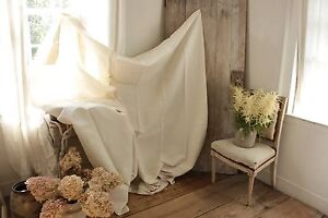 Linen Sheet Antique French 79x91 Linen Fabric Slipcover Upholstery Fabric
