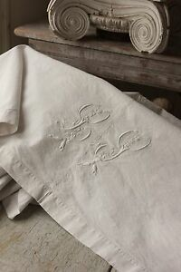 Antique French Sheet Trousseau 74x98 Lp Monogram Linen Cotton Mix Fabric