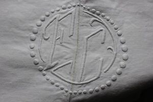Antique French Linen Sheet Trousseau 109x84 Inches Mb Or Fc Monogram Textile