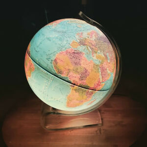 Vintage Scan Globe A S Lucite Base Mod Globe Illuminated Excellent Condition