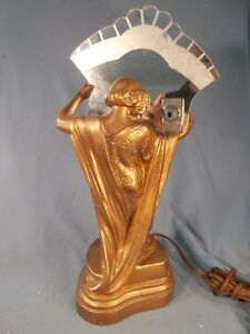 Art Nouveu Quality Draped Lady With Mirror Figural Table Lamp Spelter C1930