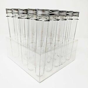25 Ultra Long Clear Pet Plastic Test Tube Tubes Beaker Set With Thin Rack New