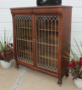 Antique Claw Foot 2 Door Fully Leaded Quarter Sawn Oak Bookcase W Hidden Drawers