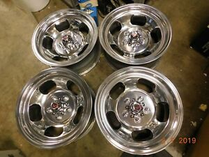 Vintage Polished Set 15x7 Slot Mag Wheels Mags Camaro Ss El Camino W Ansen Caps