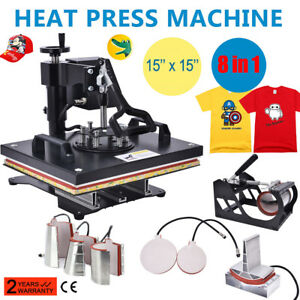 8in1 Heat Press Machine For T shirts 15 x15 Combo Kit Sublimation Swing Away Us