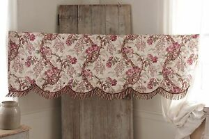 Valance Antique French 1850 Hand Block Printed Floral Arborescent Quilted Fabric