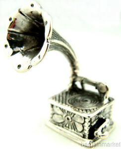 Vintage Style Miniature Sterling Silver Gramophone Phonograph 160