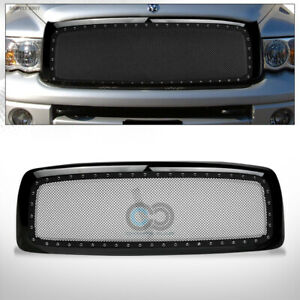 Fit 02 05 Dodge Ram Glossy Blk Rivet Bolt Steel Mesh Front Bumper Grille W shell