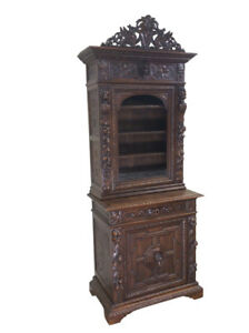 Magnificently Carved Antique French Hunt Cabinet Narrow 19th Century