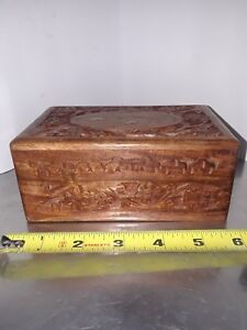 Small Teak Carved Inlaid Hinged Jewelry Box Floral Design