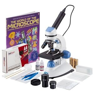 Amscope 40x 1000x 2 led Portable Compound Microscope Kit For Kids W Book Camera
