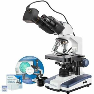 Amscope 40x 2500x Led Binocular Compound Microscope With 50pc Blank Slides And 1
