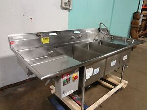 american Delphi Commercial H d 3 Compartment Sink W sprayer Wand Epc Ctrl Bx