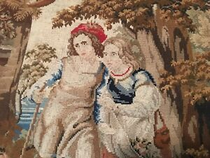 Renaissance Victorian Lady Garden Needlepoint Tapestry Wall Hanging 23 5 X 28