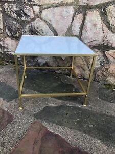 Mcm Brass Vitrolite End Side Table Attributed To Directional Paul Mccobb