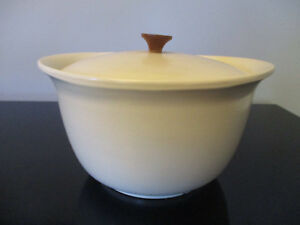 Vintage Mid Century Danish Modern Design White Red Wing Pottery Casserole Lid 2
