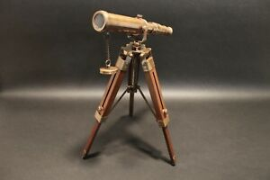 Vintage Antique Style Solid Brass Telescope Wood Tripod