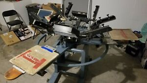 American Rototex Screen Printing Press 4 Color 3 Station