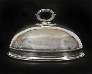 Antique James Dixon Sons Sheffield English Silver Plated Oval Dish Dome Cover