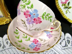 Tuscan Tea Cup And Saucer Pink Base Floral Painted Blossom Teacup Mother Inside