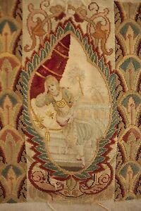 Tapestry Or Needlepoint Antique French Needlework 19th Century Textile