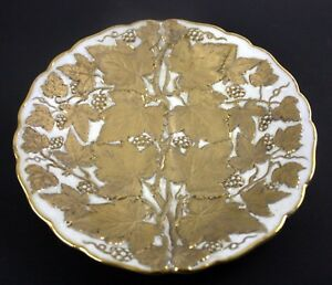 Antique 8 Gold Raised Plate With Grapevine Leaves Grapes Trim Scalloped Y 6380