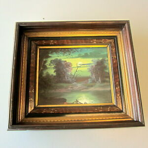 Antique Walnut Wood Eastlake Carved Deep Frame 19 X 16 W Oil On Board Painting