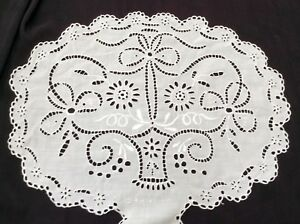 Antique Vintage Boudoir Pillow Oval 20x16 Lovely Handsewn Cutwork Embroidery