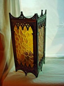 Vtg Gothic Revival Light Cover Shade 12 Inch Ornate Arched With Gold Panels