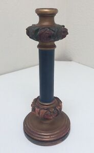 Antique Victorian Floral Rose Wood Painted Gesso Candlestick 11 1 2