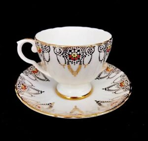 Vintage Royal Grafton England Bone China Teacup Saucer Floral Scroll Gold Trim