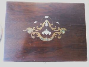 Antique Rosewood Box With Mother Of Pearl And Brass Inlay C 1850 1900