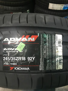 2 New 245 35 18 Yokohama Advan Sport Tires