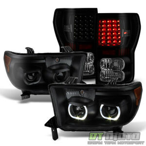 For 2007 2013 Toyota Tundra Black Smoke Projector Headlights Led Smd Tail Lamps