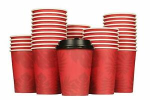 Disposable Coffee Cups With Lids 12 Oz Paper Cups 100 Pack To Go Coffee Cups