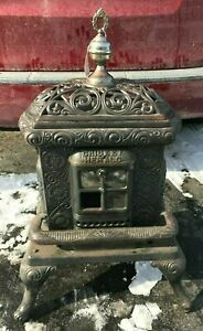 Antique Cast Iron Parlor Gas Stove Detroit Stove Works Nice