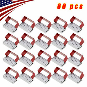 80x Dental Burs Holder Block Disinfection Box Aluminium 20 Holes Autoclave Metal