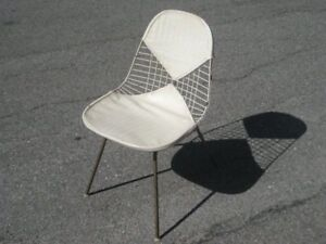 Eames White Bikini Pad Vintage Wire Side Shell Chair Original Herman Miller Rare