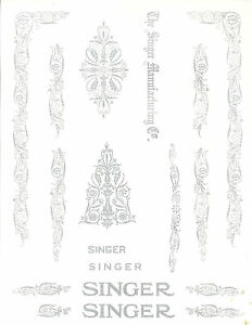 Singer Model 66 99 Filigree Sewing Machine Restoration Decals Silver