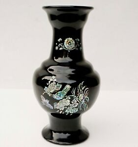 12 H Korean Mother Of Pearl Birds On Blossoms Tree Black Lacquer Vase