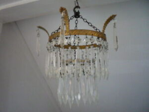 Antique Vintage French Chic Crystal 3 Tier Waterfall Chandelier Ceiling Light