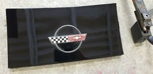 84 96 Corvette C4 Gas Fuel Door With Hinge Assembly Black With Emblem Coupe