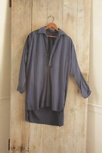 Men S Shirt Blue Workwear Antique French Peasant Clothing Open Neck Tunic Cotton