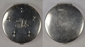 Antique Vintage Retro 925 Sterling Silver Compact Makeup Mirror W Stars