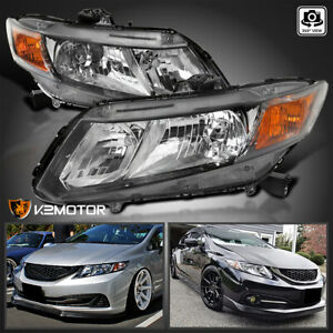 Fits 2012 2015 Honda Civic Black Headlights Headlamps Replacement Left right