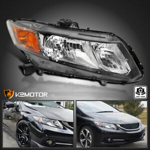 Fits 2012 2015 Honda Civic 4dr Black Replacement Headlight Right Passenger Side