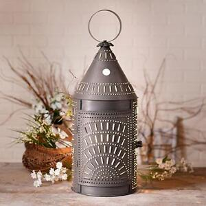 Colonial New Large 27 Blacken Punched Tin Floor Lantern Light